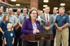 August 26, 2019: Senator Lindsey Williams and Representative Lori Mizgorski joined State Fire Commissioner Bruce Trego and other local elected officials from Shaler Township for the presentation of a $200,000 check to the Elfinwild Volunteer Fire Company. This funding is provided through the Volunteer Loan Assistance Program (VLAP).
