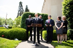 May 9, 2019: Senator Lindsey Williams joins fellow members of the Pennsylvania House and Senate outside the Tree of Life Synagogue in the Squirrel Hill neighborhood of Pittsburgh to announce plans for legislation that will address hate crimes.