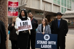 April 4, 2019 – Senator Lindsey Williams  stands with POWER Interfaith, UNITE HERE and other supporters of the Marriott hotel workers seeking better working conditions.