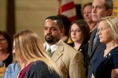 March 20, 2019: Senator Lindsey Williams joins Senator Maria Collett, RN, Rep. Gene DiGirolamo and fellow legislators for a press conference announcing legislation to set safe nurse-to-patient limits in Pennsylvania hospitals.