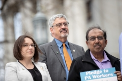 April 9, 2019: Senator Lindsey Williams joins SEIU at state Capitol rally for better workers' rights.