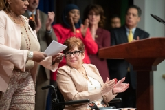 March 26, 2019: Senator Lindsey Williams joins fellow democrats today to introduce a package of legislation to curb workplace harassment.
